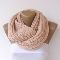 Chunky salmon neckwarmer, infinity scarf,salmon,knit,knitting,circle scarf,ULTRA SOFT,for her,valentines day
