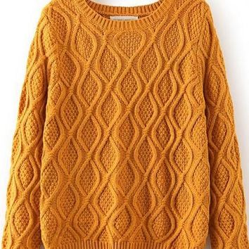 Yellow Geometric Long Sleeve Sweater