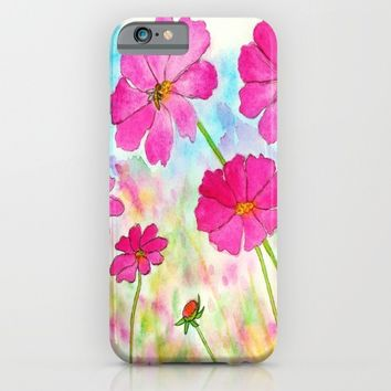 Symphony In Pink, Pink Cosmos Wildflowers Floral Art Watercolor Landscape Painting iPhone & iPod Case by Itaya Art