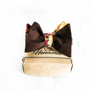 Hanamel Handcrafted Brown & Orange Floral Self Tie Bow Tie - Brown Floral Freestyle Bow Ties - Wedding Floral Bow Tie-Vintage Floral Bow Tie