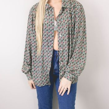 Vintage Geometric Abstract Button Up Blouse
