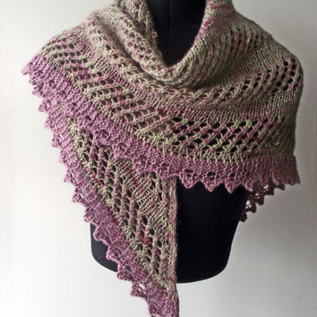 Pink & Green Shawl, Handspun  Handdyed, Artisan Unique Lacy Shawlette, Green Pink Bluefaced Leicester Shawlette, Hand Spun Dyed Knit Wrap