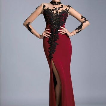 Sheath Slit Prom Dresses,Red Prom Dress,Long Evening Dress