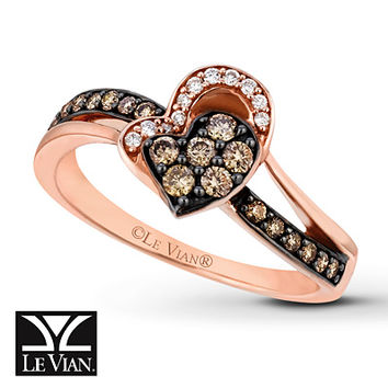 LeVian Chocolate Diamonds 1/3 ct tw Ring 14K Strawberry Gold
