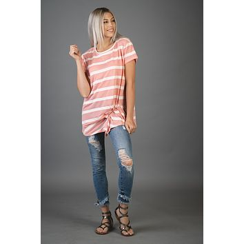 Pink and White Striped Top with Gathered Front