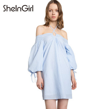 Stripe Off Shoulder Mini Dresses Women Clothing Vestidos Lace Up Preppy Female Halter Sweet Summer Dresses