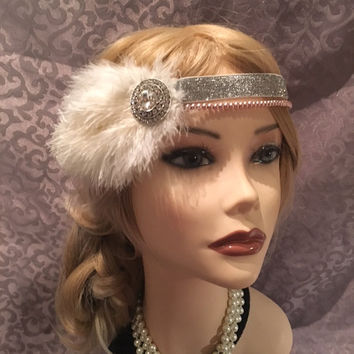 1920s style gatsby ivory ostrich feather flapper headpiece headband head piece band Crystal silver mauve pearl 20s art deco headdress (704)