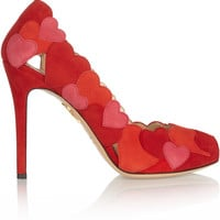 Charlotte Olympia - Love Me heart-appliquéd suede pumps