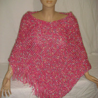 Knitted Lovely Pink Fringed Elegant, Hooded Poncho by Arzu's Style