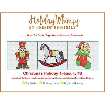 Christmas Holiday Treasury #8 Toy Soldier, Rocking Horse and Kitten THREE Counted Cross Stitch Patterns