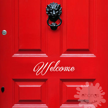 Welcome Front Door Decal / Welcome Sticker / Custom Letters Decal / door sign quotes / removable vinyl / modern / gift