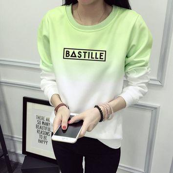 BASTILLE Printed Letter Sweatshirt Woman Gradient Cotton Letter Pullovers Sweatshirt Fashion Women Tracksuit Hoodies JBW-11452