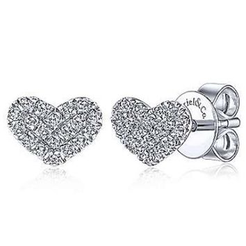 "Gabriel Diamond Pave ""I Love You"" Heart Earrings"