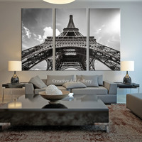 City Wall Art - Eiffel Tower Wall Art Canvas Print, Large Paris France Eiffel Tower Canvas Print, 3 Panel Eiffel Tower Art Canvas Print