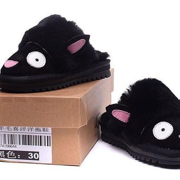 LFMON UGG Kid's Yeanling Slipper  Women Men Fashion Casual Wool Winter Snow Boots Black