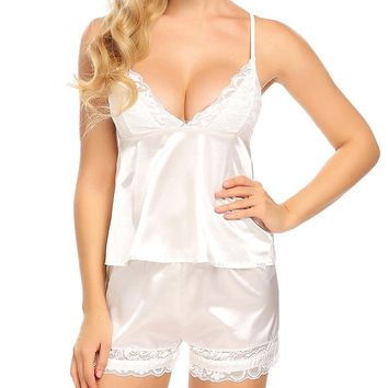 Women Satin Cami and Short Pajamas Set Sexy Lace Lingerie Sleepwear