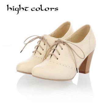Fashion Vintage British Style Lace Up Thick High Heels Oxford Shoes For Women Pumps Sh