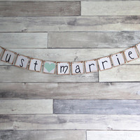 JUST MARRIED Wedding Banner Sign Garland Bunting- Photo prop or decoration