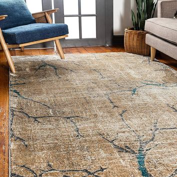 0140 Light Brown Branches Design Distressed Contemporary Area Rugs