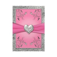 Pink and Pewter Heart Sweet Sixteen Invitation from Zazzle.com