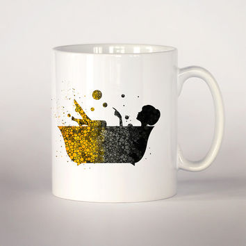 Girl in a bathtub coffee mug, Black and yellow drops bathtub Tea Cup, coffee cup 11 oz. Mug art, Ceramic Mug art , gift for her, unique mug