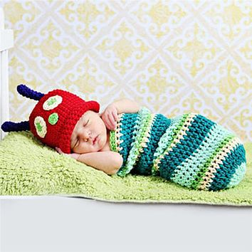 2pcs set Infant Baby Boy Girl Cute Caterpillar Knitted Sleeping Bag with Hat Outfit Suit Baby Clothing Newborn Photography Props