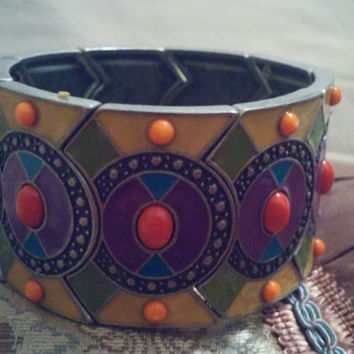 Tribal Ethnic Moroccan North African Style  Enamel and Bead Cuff Bangle Stretch Bracelet