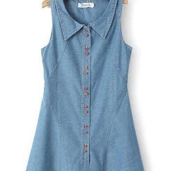 Sleeveless Denim Mini Dress - Button Front / Light Blue