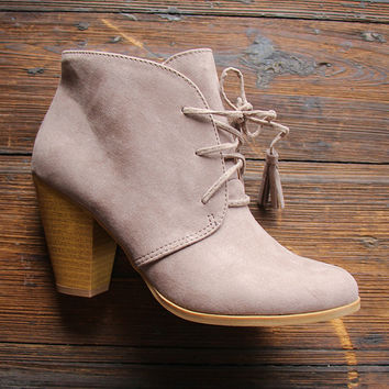 San Jose Lace-Up Booties in Taupe