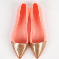 Pointy Glitter Cap Toe Two Tone Jelly Flats | MakeMeChic.com