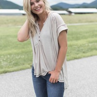 Knit Henley Tee, Light Taupe