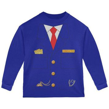 DCCKIS3 Halloween Train Conductor Costume Toddler Long Sleeve T Shirt