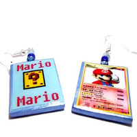 Mario from Super Mario Brothers Nintendo Pokemon Card Earrings, 2 Sided, Gamer Jewelry, Glass Beads, Silver or Gold Earrings, Polymer Clay
