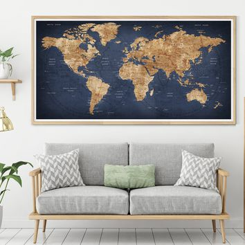 Push Pin World Map | World Map Poster| Travel Map | Personalized Push Pin World Map | Large World Map Push Pin Executive Style
