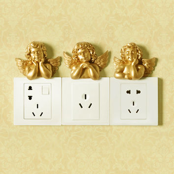 European resin switch plate Wall hangings Decorative Wall Stickers stereoscopic Angel Socket Adornment Household wall hangings