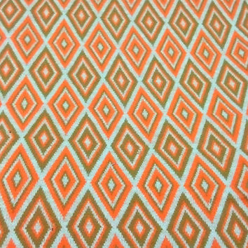 Retro Geometric Fabric Stretch Knit  w/ Orange by ItchforKitsch