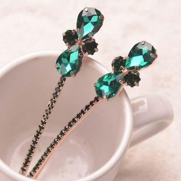 (2 PCS/LOTS) Fancy Ladies Flower Hair Clip Crystal Hairpins Luxury Rhinestone Hair Jewelry Woman Hair Accessories