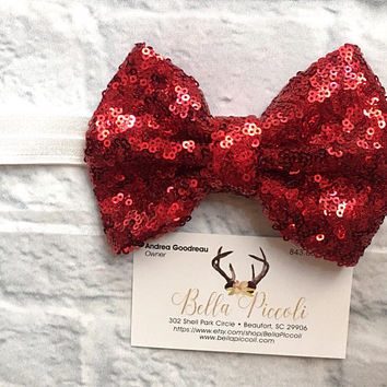 Baby Headbands, Baby Girl Headbands, Red Bow Headband, White Band Headband, Headbands, Baby Girl, Sequin Headbands, Sequin Bows