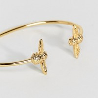 Olivia Burton Moulded Bee Double Gold Bangle at asos.com