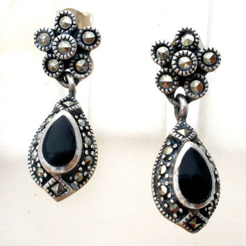 Black Onyx Earrings with Marcasites Sterling Silver