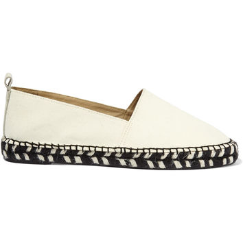 Iris and Ink Madison leather-trimmed canvas espadrilles – 0% at THE OUTNET.COM