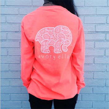 New Plus Size XXXL Long Sleeve Shirt For Women Elephant Ivory Ella O-neck Harajuku T Shirt Women Best Friends T Shirt Blusas