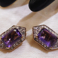 Beautiful Vintage Panetta Amethyst and Clear Coloured  Rhinestone Earrings
