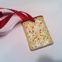 SALE! Strawberry Pop-Tart Christmas Ornament, Polymer Clay Decor, Food Decor