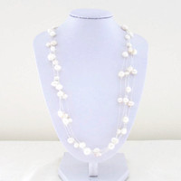 Floating pearl necklace, freshwater pearl bridal necklace, pearl wedding jewellery