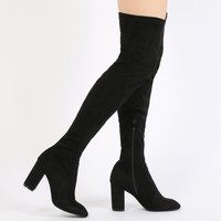 Natalia Square Toe Long Boots in Black Faux Suede