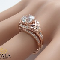14K Solid Rose Gold Diamond Ring,Diamond Bridal Sets Ring,Leaf Ring,Wedding Ring