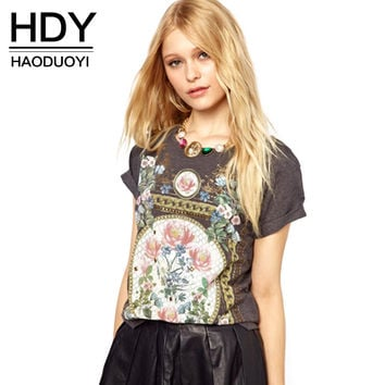 HDY Haoduoyi 2016 Fashion New Women Casual Slim Top Vintage Elegant Floral Print Tees Short Sleeve Crew Neck T-shirt