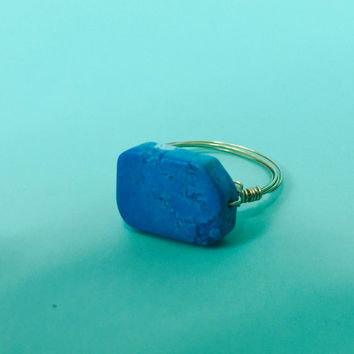 Ships Free! Blue Square Natural Stone Gold Wire Wrapped Ring - Great gift for Bridesmaids, Birthdays, and more!