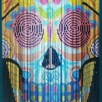 Bamboo door curtain with sugar skull scene
